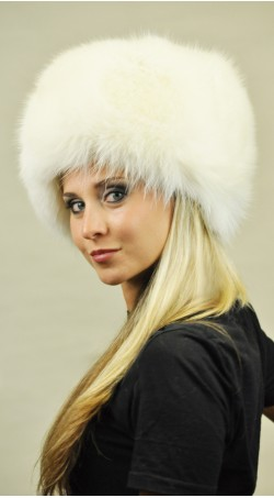 Lapės kailio kepurė - balta