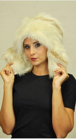 Ausinė arktinės ugninės lapės kailio kepurė