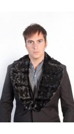 Vyriška audinės kailio gabalėlių apykaklė - juoda